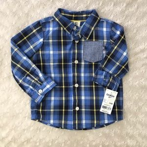 OshKosh B'Gosh Plaid Button Down Shirt Blue 24M